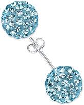 Unwritten Aqua Pavé Stud Earrings in Sterling Silver