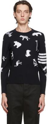Thom Browne Navy Merino 4-Bar Intarsia Animal Sweater