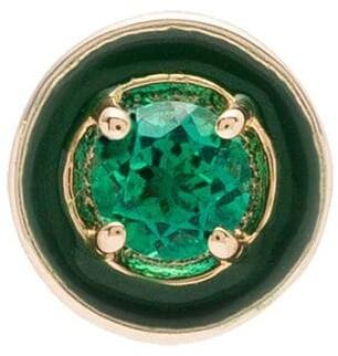 "Alison Lou 14kt gold emerald ""E"" Enamel round stud"
