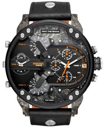 Diesel R) Mr. Daddy 2.0 Chronograph Leather Strap Watch, 57mm x 66mm