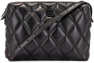 Balenciaga B Quilted Leather Camera Bag in Black | FWRD