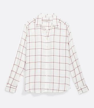 LOFT Petite Shimmer Plaid Hi-Lo Tunic Shirt
