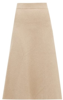 Altuzarra Callaway Ribbed-knit Fluted Midi Skirt - Womens - Beige