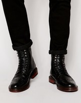Base London Berners Leather Scotchgrain Brogue Boots - Black