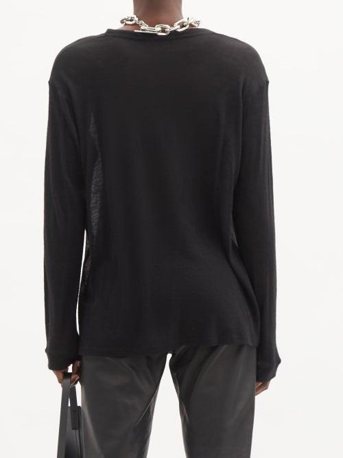 Thumbnail for your product : FRANCES DE LOURDES Marlon Cashmere-blend Jersey Long-sleeved T-shirt - Black