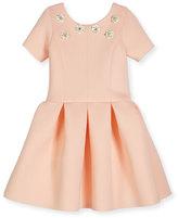 Zoë Ltd Meg Short-Sleeve Pleated Scuba Dress, Blush, Size 7-16