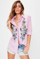Missguided Pink Stripe Floral Embroidered Shirt