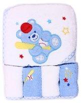 SpaSilk 100% Cotton Hooded Terry Bath Towel with 4 Washcloths, Baseball Bear Blue by