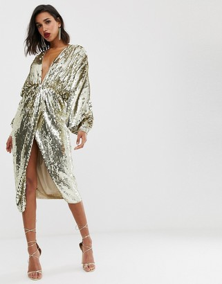Asos Edition EDITION batwing midi dress in sequin-Brown
