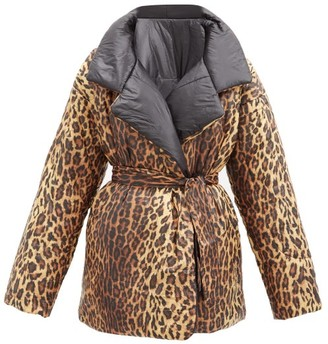 Norma Kamali Sleeping Bag Reversible Leopard-print Padded Coat - Black Multi