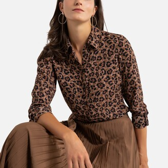 Anne Weyburn Recycled Animal Print Shirt with Long Sleeves