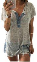 Charberry Women Loose Casual Button Blouse T Shirt Tank Tops (XXXL, )