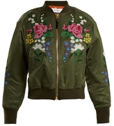 Muveil Floral cross-stitch embroidered bomber jacket