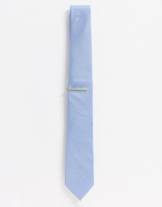 Topman tie and pin set in blue