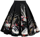 OFEEFAN Women's High Waist Floral Pleated Skirt Midi Skater Skirt 2XL