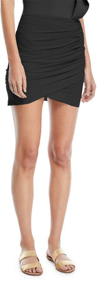 Chiara Boni Ebby Fitted Ruched Mini Skirt Coverup