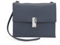 HUGO BOSS Cross Body Bag In Coated Leather With Pyramid Hardware - White