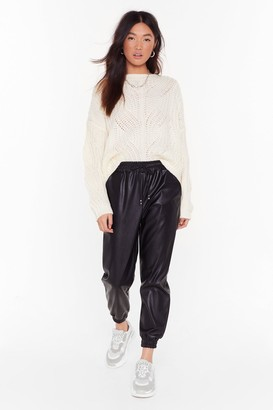 Nasty Gal Womens Jog My Mind Faux Leather Jogger Trousers - Black - L