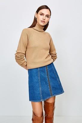 Karen Millen Zip Front Denim Mini Skirt