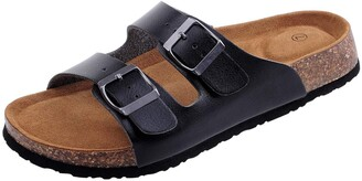 Shoeslocker Women's Open-Toe Faux-Leather Flat Dual Adjustable Cork Sandals Black US 7
