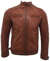 Infinity Men's Retro Leather Racing Biker Jacket L