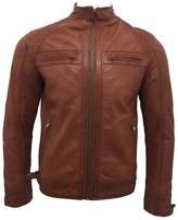 Infinity Men's Retro Leather Racing Biker Jacket XL