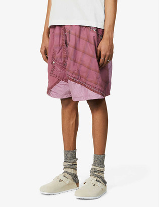 By Walid Nathan contrast-patchwork cotton shorts