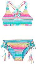 Hobie Girls' Swimwear Salt Air Stripe Macrame Bralette Bikini Set (7yrs14yrs) - 8140627