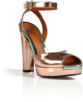Quartz/Mint Metallic Leather Platform Sandals