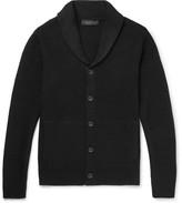 Rag & Bone Cardiff Shawl-collar Textured-knit Wool And Cotton-blend Cardigan - Black