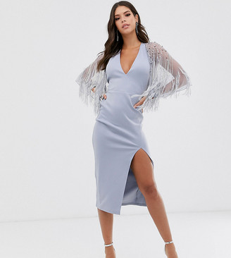 Asos Tall DESIGN Tall faux feather cape midi dress-Silver