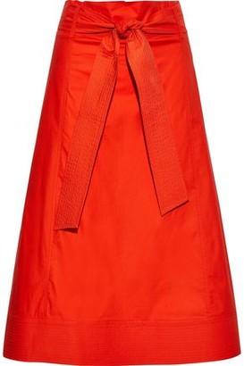 Diane von Furstenberg Maggie Tie-front Stretch Cotton-poplin Midi Skirt