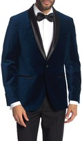 Savile Row Co Navy Shawl Collar Single Button Velvet Suit Separate Sport Coat