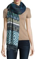Theodora & Callum Diamond-Print Wrap Scarf, Navy Night