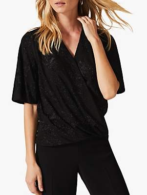 Phase Eight Ina Shimmer Wrap Top, Black