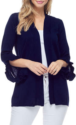 Fever Ruffle Sleeve Open Front Cardigan