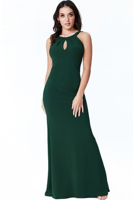Goddiva Emerald Halter Open Back Frill Detail Maxi Dress