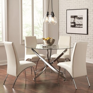A Line Furniture Modern Chrome Artistic Design 5-piece Round Dining Set with Tempered Glass Table Top