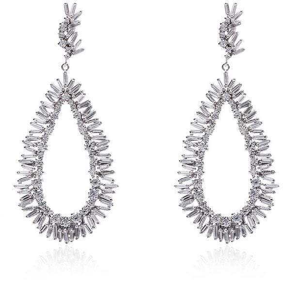 Suzanne Kalan White Pear Drop Diamond Earrings