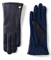 Lands' End Women's Mixed Media Leather Gloves-Ecru