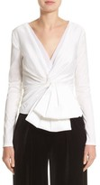Talbot Runhof Women's V-Neck Blouse With Bow Detail