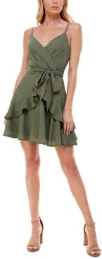 Trixxi Juniors' Printed Ruffled Fit & Flare Dress