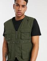 Soul Star utility gilet jacket in green