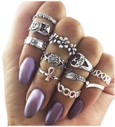 Zealmer Retro Silver Set Of Rings Sun Moon Flower Leaves Stacking Knuckle Midi Statement Band Ring Set