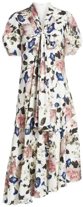 Erdem Jayla Floral Puff Sleeve Asymmetric Midi Dress