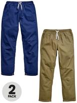 Very 2 Pk Tie Waist Trousers- Khaki & Navy