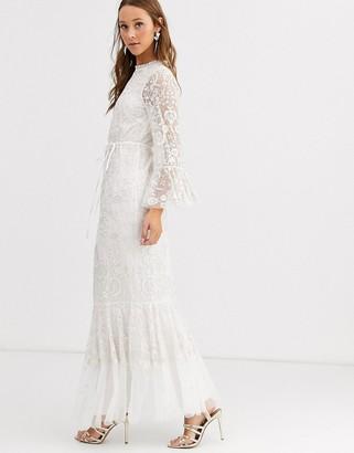 Needle & Thread long sleeve peplum hem maxi dress in ivory-White