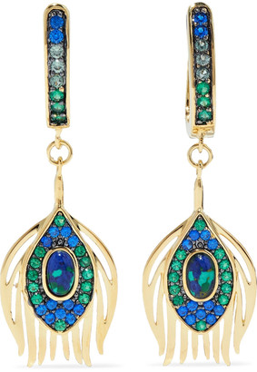 Noir 14-karat Gold-plated, Stone And Crystal Earrings