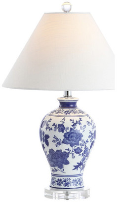 """Jonathan Y Designs Song 21.5"""" Ceramic Chinoiserie Floral LED Table Lamp, Blue by JONATHAN"""