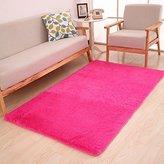 TideTex European Style Soft Fluffy Door Mat Modern Shaggy Area Rugs Living Room/Sofa Carpet Children Kids Playing Mat Floor Mat (2'6x5'3, Rose Red)